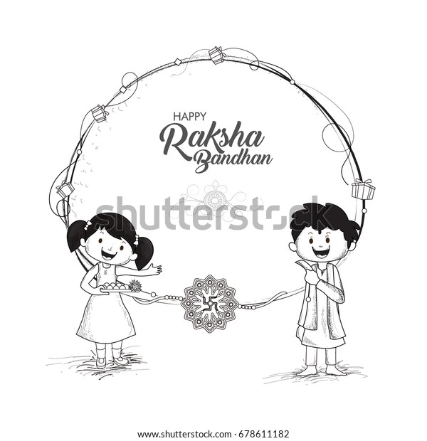 Black White Sketch Cute Little Brother Stock Vector Royalty Free 678611182