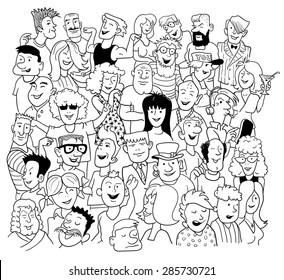 Black and White Sketch in Doodle Style. Group of Funny People on White. Vector Illustration for Cover Design.