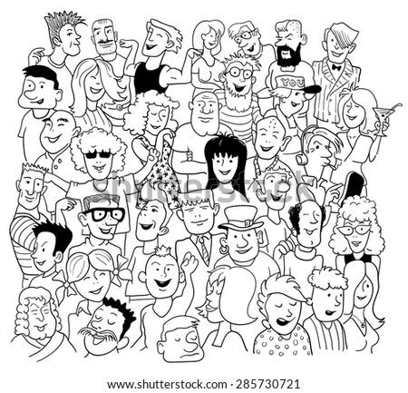 Black White Sketch Doodle Style Group Stock Vektorgrafik Lizenzfrei