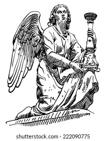 black and white sketch drawing of marble statue angel from Rome, Italy, vector illustration