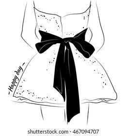 Black and white sketch of the dress. Short fluffy dress with sequins. On the back is a huge beautiful bow. Dress for a happy day.