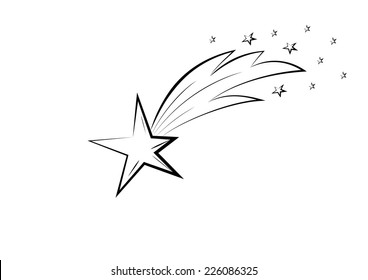 Black and white sketch of the falling star.
