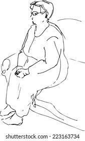 black and white sketch of a grandmother sitting resting