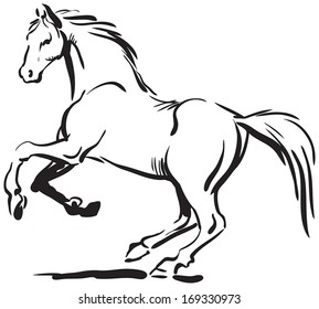Black and white sketch of horse.