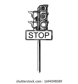 Black and white sketch illustration of a traffic light with traffic signs. A sign that says stop.