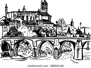 Black and white sketch of the old city, France, Albi