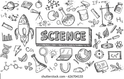 Black and white sketch science chemistry physics biology and astronomy education subject doodle icon. Doodle for presentation or school education promotion in fundamental science concept (vector)