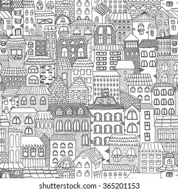 Black and white sketch seamless panorama of the city. Doodle. Sketch of city architecture. Vector illustration drawn by hand.