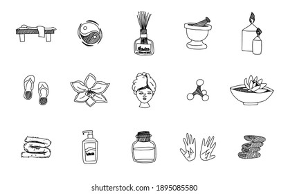black and white sketch spa relaxation. vector doodle sketches