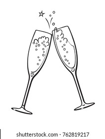 Black and white sketch of two glasses of champagne. Merry Christmas and Happy New Year design element. Retro style vector illustration.