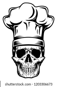 Black and White Skull with Chef Hats Object Stock Vector Illustration