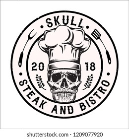 Black and White Skull with Chef Hats and Mustache, Steak and Bistro Logo, Emblem, Logo, Bagde, Patch Object Stock Vector Illustration