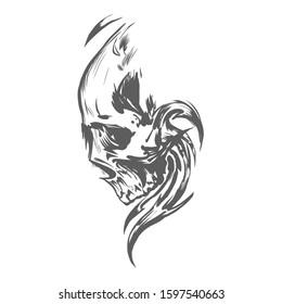 black and white skull illustration art, skull vector, for t-shirt or halloween design. Vector version also available in gallery