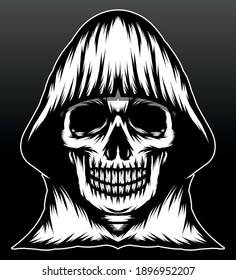Black white skull reaper. Premium vector