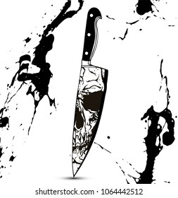Black and white skull reflection on kitchen knife edge vector illustration in the style of tattoo vintage hand drawings with black blood splatters.