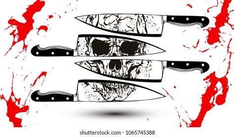 Black and white skull reflection on kitchen knife edges vector illustration in the style of tattoo vintage illustrations with red blood splatters.