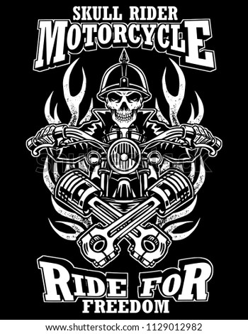 355465b2 Black and white skull rider illustration custom motorcycle emblems, t-shirt  design, labels