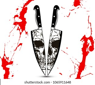Black and white skull split face reflection on two kitchen knife edges. Vector illustration in the style of tattoo vintage illustrations.