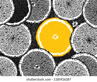 Black and white slices of oranges and one brightly juicy orange among them, drawing by hand