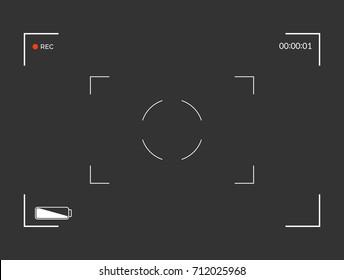 Black and white slr digital camera viewfinder. Camera back and focus frame view. Modern focusing screen. Vector illustration