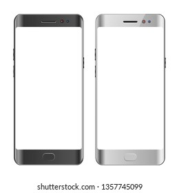 Black and white smartphone, blank screen mobile phone, isolated vector illustration