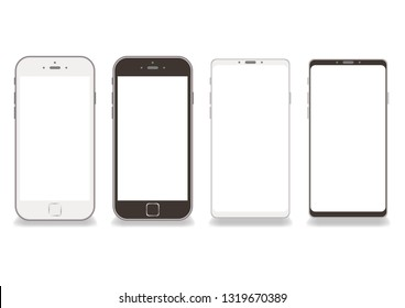 Black and white smartphone frame vector White background - Copy space on screen