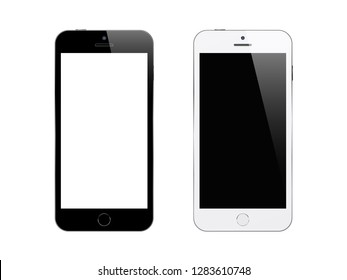 Black and white smartphones on white background. Mock up phone with blank screen. Isolated vector illustration.