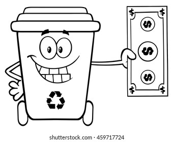 Black And White Smiling Recycle Bin Cartoon Mascot Character Holding A Dollar Bill. Vector Illustration Isolated On White Background