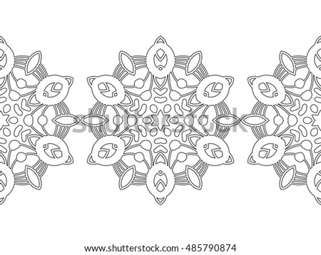 Black White Snowflake Coloring Book Seamless Stock Vector ...