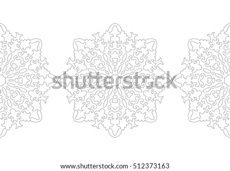 Black White Snowflake Coloring Book Christmas Stock Vector (Royalty ...