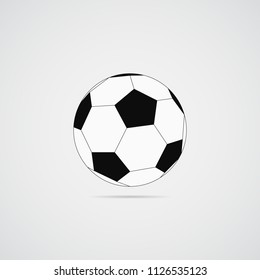 Black and white soccer ball on a gray background. Vector illustration