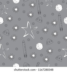 black and white space moon stars planets rocket ship seamless background pattern