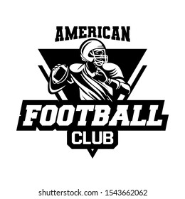 Black and white sport badge of american football club with triangle