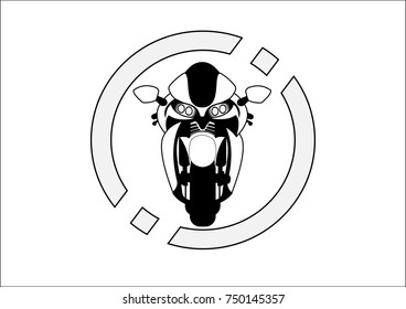 black and white sport motorcycle isolated on circle