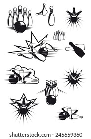 Black and white sports bowling balls and ninepins with motion lines and bang clouds