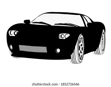Black and white sports car. Beautiful, racing sports car on alloy wheels with low-profile tires. Icon with a typewriter