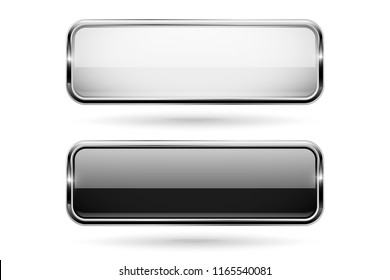 Black and white square glass 3d buttons with metal frame. Vector illustration isolated on white background