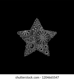 Black and white star doodle illustration with flowers, swirls and abstract shapes