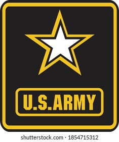 Black and white sticker with the inscription U.S.ARMY. Vector illustration.