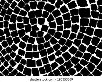 black and white stone pavers pattern