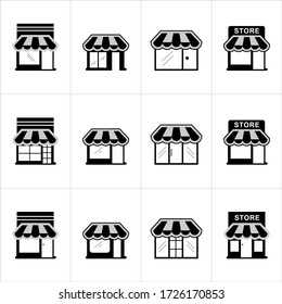 black and white store icon flat building