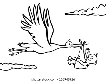 Black and white stork delivering a baby.