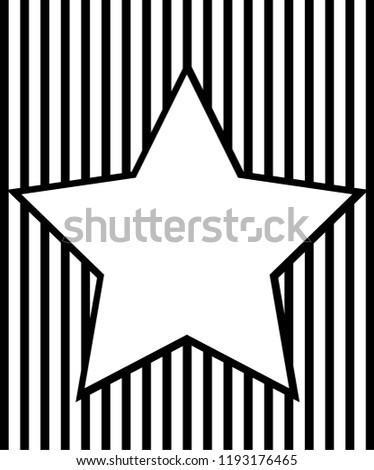 Black White Striped Background Star Frame Stock Vector Royalty Free