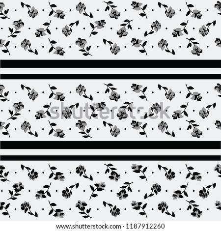 Black White Stripes Floral Motifs Ditsy Stock Vector Royalty Free