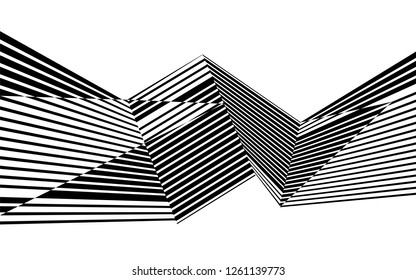 black and white stripes, lines abstract graphic, illusive movement design, optical art, op art, wave