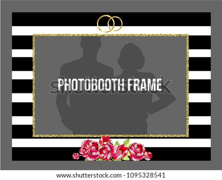 Black White Stripes Photobooth Frame Flowers Stock Vector Royalty
