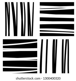 Black and white stripes in squares seamless pattern