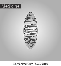 black and white style icon of mitochondrion
