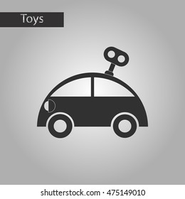 black and white style toy car with key
