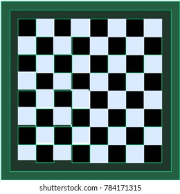 Black and White Stylish Chessboard with Green Border